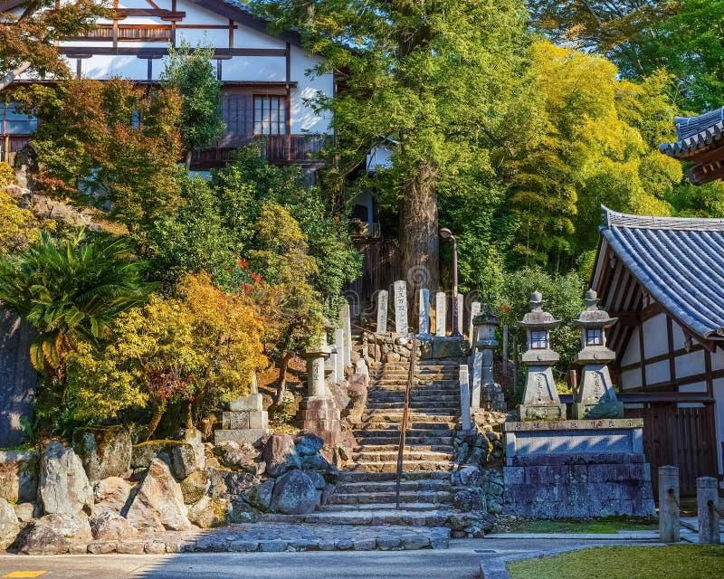 L'escalier Nigatsu-font Hall de complexe de Todi-JI à Nara photo libre de droits
