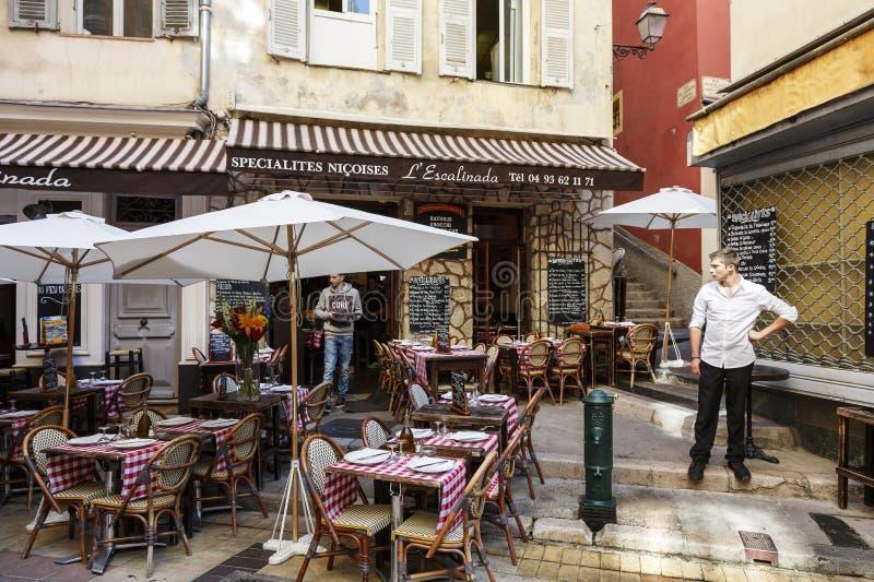 L'Escalinada-Restaurant in Nizza, Frankreich lizenzfreies stockfoto