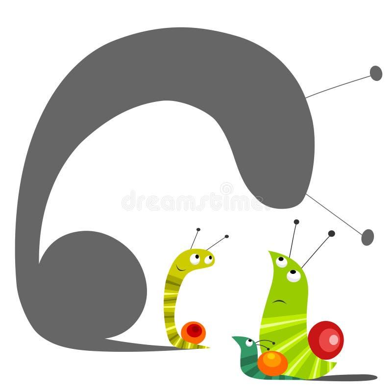 L'escargot avec la grande ombre derrière illustration libre de droits