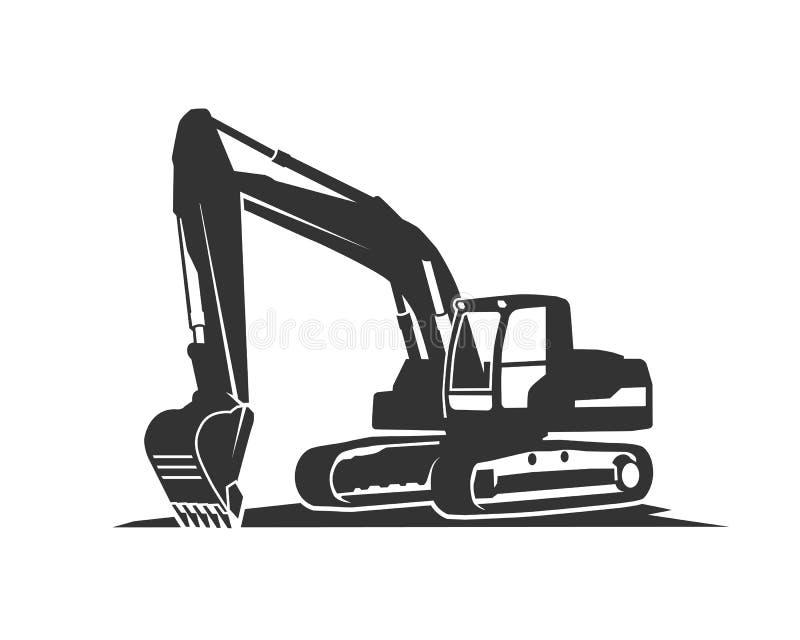 L'escavatore del nero della siluetta su un fondo bianco illustrazione vettoriale