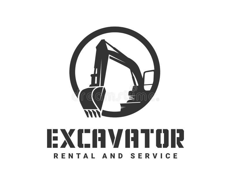 L'escavatore del nero di vettore della siluetta su un fondo bianco royalty illustrazione gratis