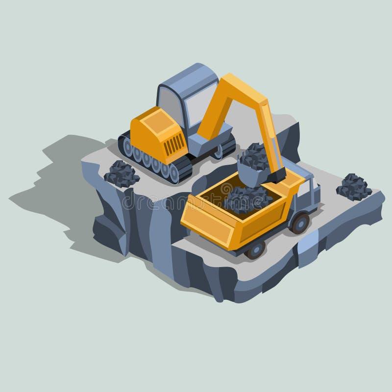 L'escavatore di estrazione mineraria carica il carbone in un vettore isometrico dell'autocarro con cassone ribaltabile royalty illustrazione gratis