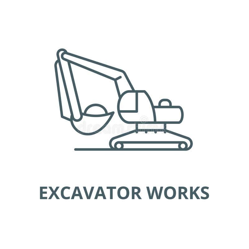 L'escavatore funziona la linea icona, concetto lineare, segno del profilo, simbolo di vettore royalty illustrazione gratis