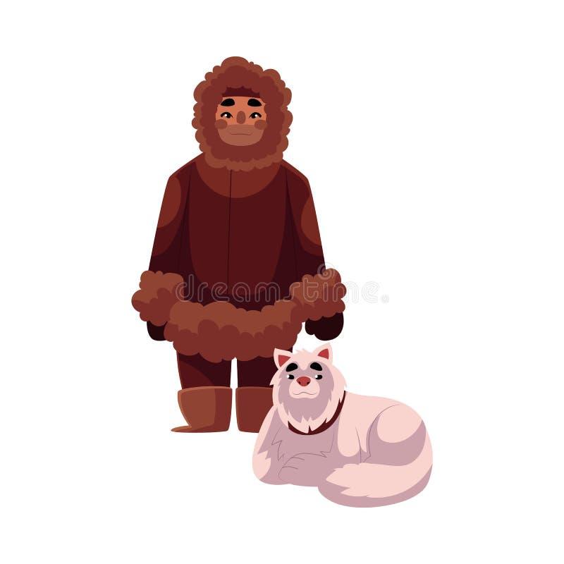 L'eschimese, uomo inuit nell'inverno caldo copre con il cane di slitta illustrazione vettoriale