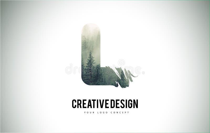 L escova da letra com Forest Fog Texture Forest Trees Letter Logo ilustração stock