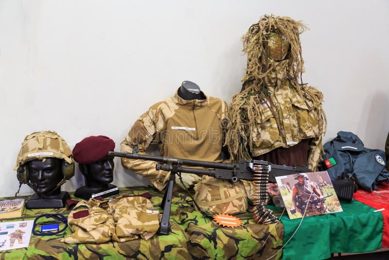 L'esercito britannico uniforma come durato nella guerra afgana fotografia stock libera da diritti