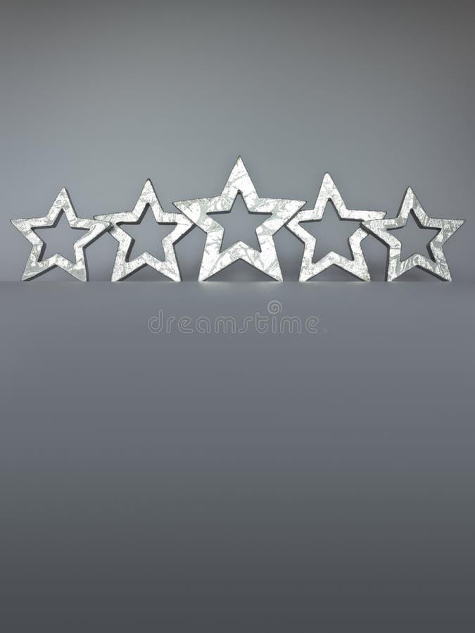L'espace argenté de copie de cinq étoiles photos stock