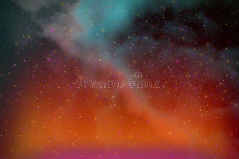 L'espace bleu-clair d'imagination dynamique abstraite et fond color? d'?toiles avec des ?tincelles et des nuages images libres de droits