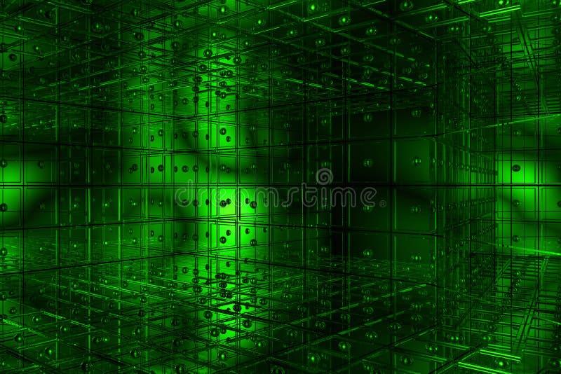 L'espace cubique vert illustration de vecteur