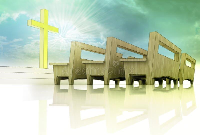 L'espace d'église avec la croix d'or et le banc en bois illustration stock