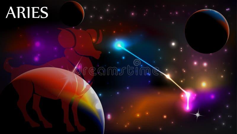 L'espace d'Aries Astrological Sign et de copie illustration libre de droits