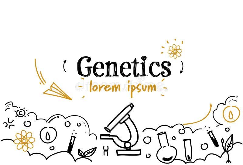 L'espace d'isolement horizontal de copie de griffonnage de croquis de concept de la génétique de la science de biotechnologie illustration libre de droits