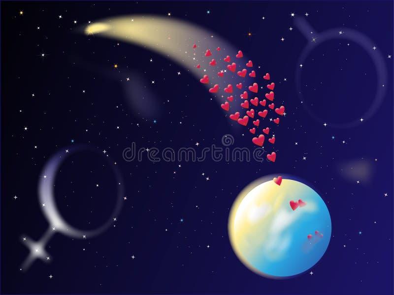 L'espace de comète de coeur illustration de vecteur