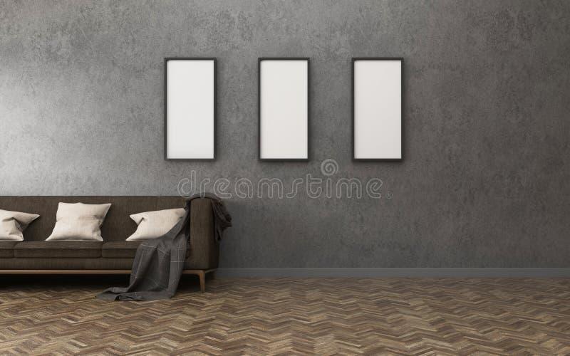L'espace de confort avec le fond mur en béton et plancher en bois dans le salon photo stock
