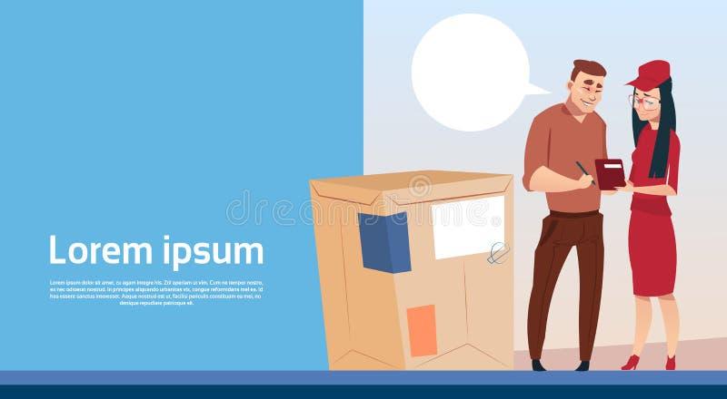 L'espace de copie de bannière de service de courrier de paquet de Woman Box Delivery de messager de document de signe d'homme illustration libre de droits