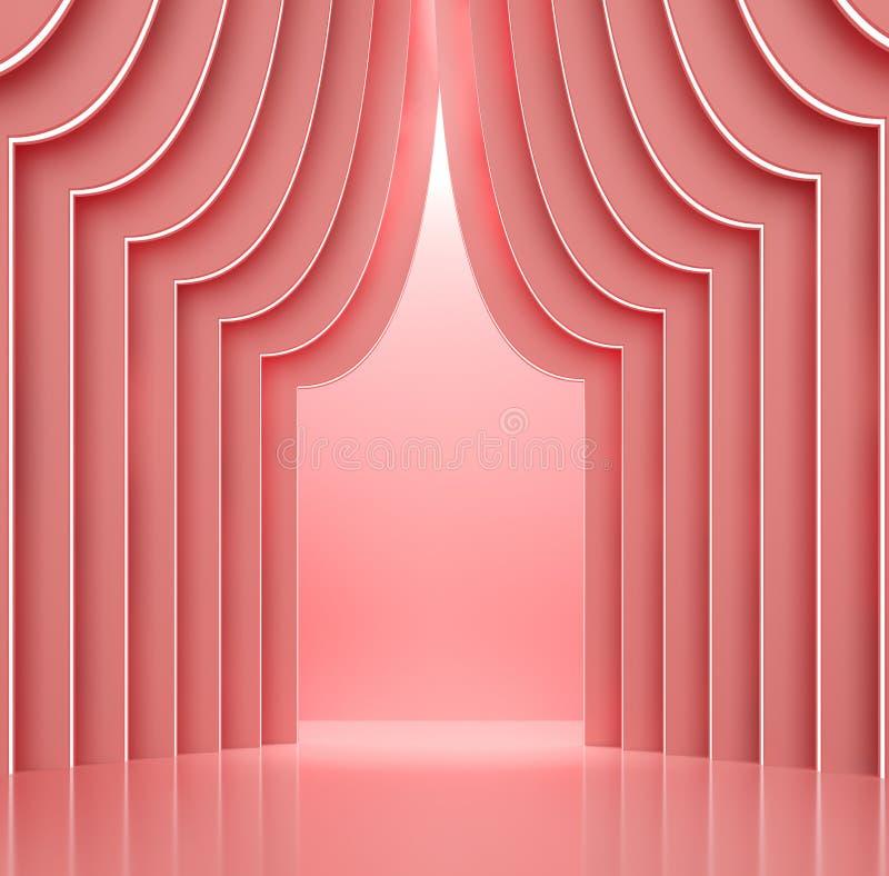 L'espace de corail de rose intérieur avec le concept 3d de mur de forme de rideau rendre illustration libre de droits