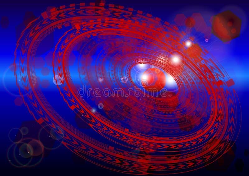L'espace de Cyber Composition abstraite avec les modèles et les points culminants circulaires illustration stock