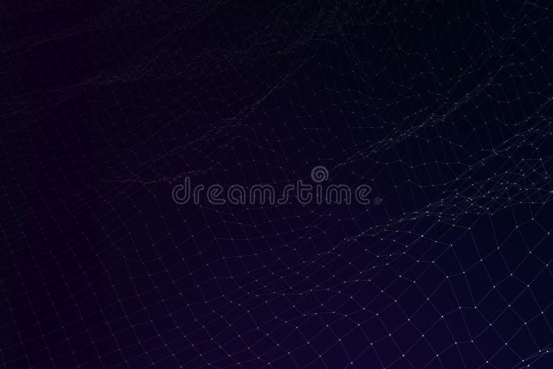 L'espace de cyber d'illustration du paysage 3d de wireframe de terrain de grille illustration de vecteur