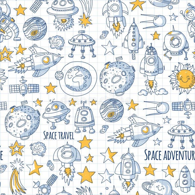 L'espace de modèle sans couture de vecteur, satellite, lune, étoiles, vaisseau spatial, icônes tirées par la main de griffonnage  illustration de vecteur