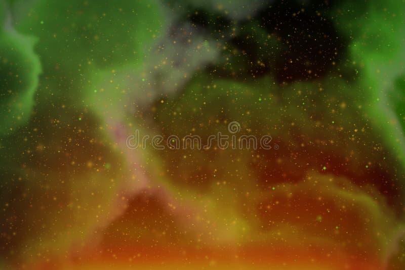 L'espace dynamique abstrait de vert d'imagination et fond color? d'?toiles avec des ?tincelles et des nuages images libres de droits