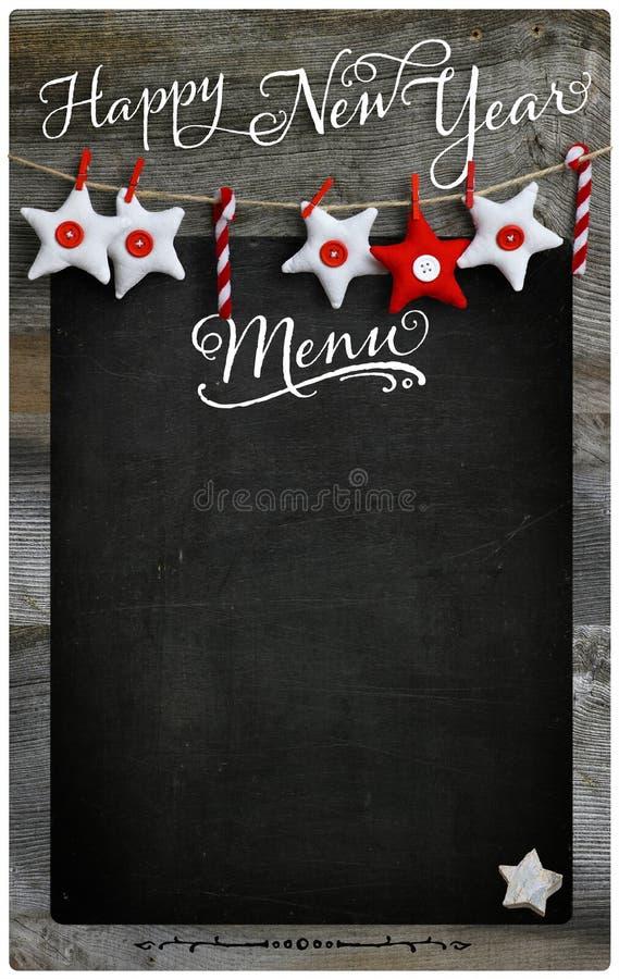 L'espace en bois de copie de tableau noir de menu de restaurant de bonne année photo stock