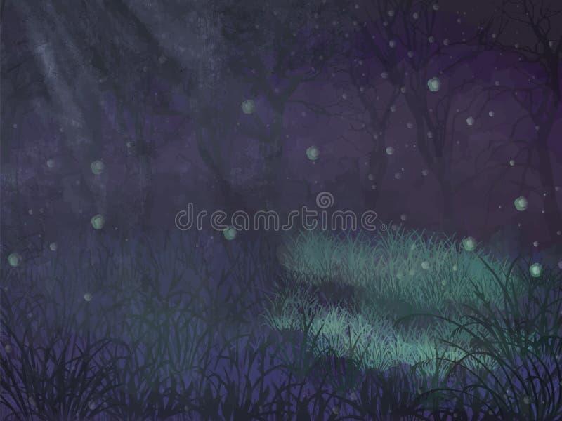 L'espace enchanté de copie de forêt Fond enchanté de vecteur d'espace de copie de forêt pour le texte Forêt enchantée violette po illustration libre de droits