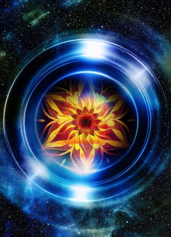 L'espace et étoiles avec le mandala ornemental oriental Fond abstrait de couleur illustration stock