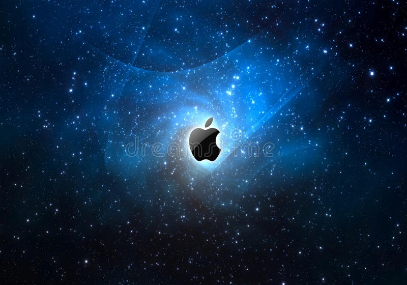 L'espace et pomme illustration stock
