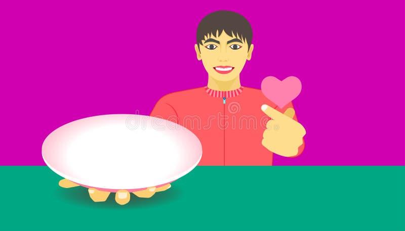 L'espace libre sur le plat pour votre promotion de nourriture un homme montrent des articles et donnent une mini main de coeur po illustration libre de droits
