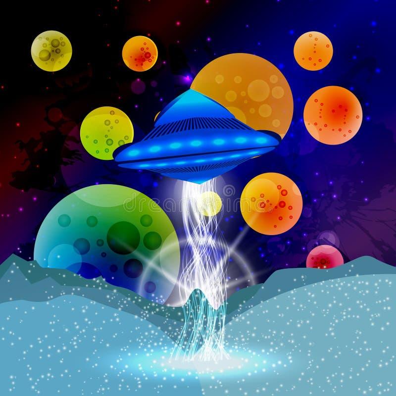 L'espace ouvert de paillettes de planète de rayon d'UFO Illustration illustration de vecteur