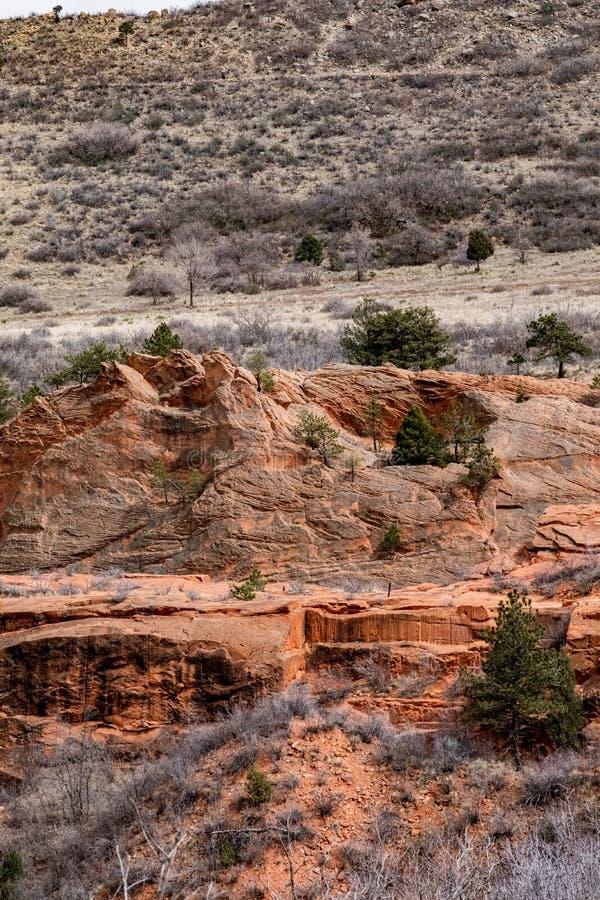 L'espace ouvert rouge Colorado Springs de roches du Colorado images libres de droits