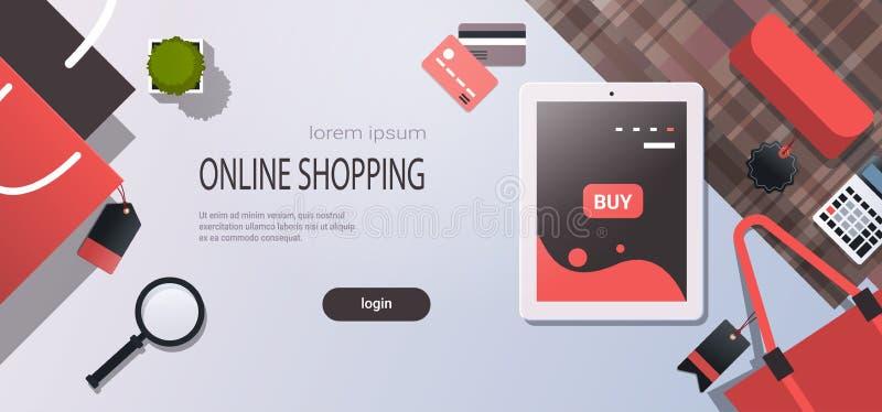 L'espace plat de achat en ligne de copie d'angle de lieu de travail de concept d'application mobile de vente d'écran de Tablette  illustration stock
