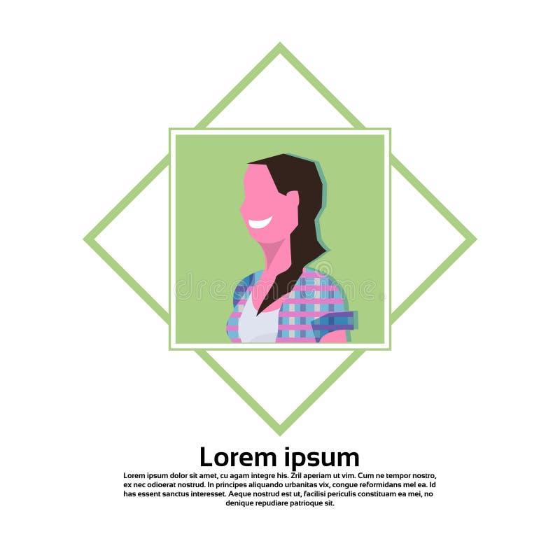 L'espace plat de copie d'isolement par portrait femelle carré de personnage de dessin animé de cadre d'avatar de brune de femme illustration libre de droits