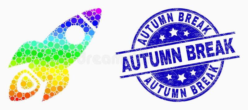 L'espace pointillé spectral Rocket Icon de vecteur et grunge Autumn Break Seal illustration stock