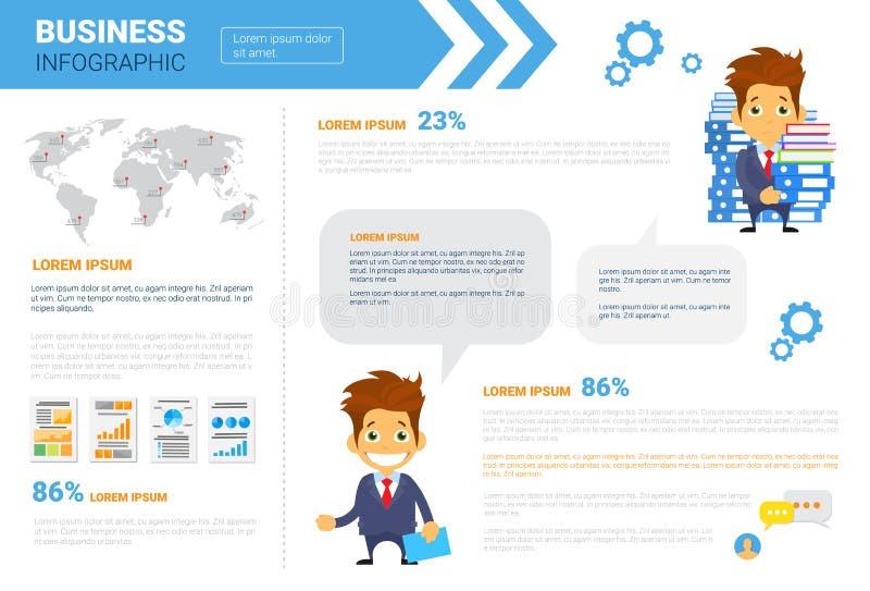 L'espace réglé de copie d'Infographics d'affaires pour le concept d'analyse de rapport du marché de données de présentation illustration libre de droits