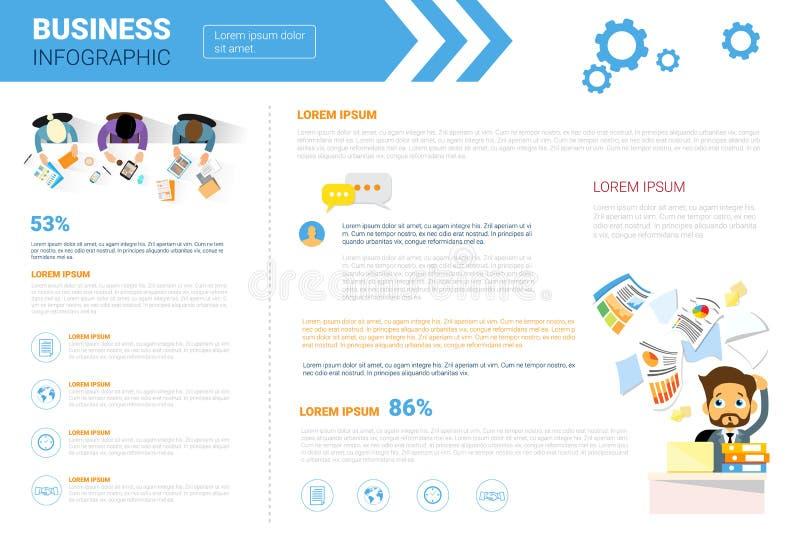 L'espace réglé de copie d'Infographics d'affaires pour le concept d'analyse de rapport du marché de données de présentation illustration de vecteur