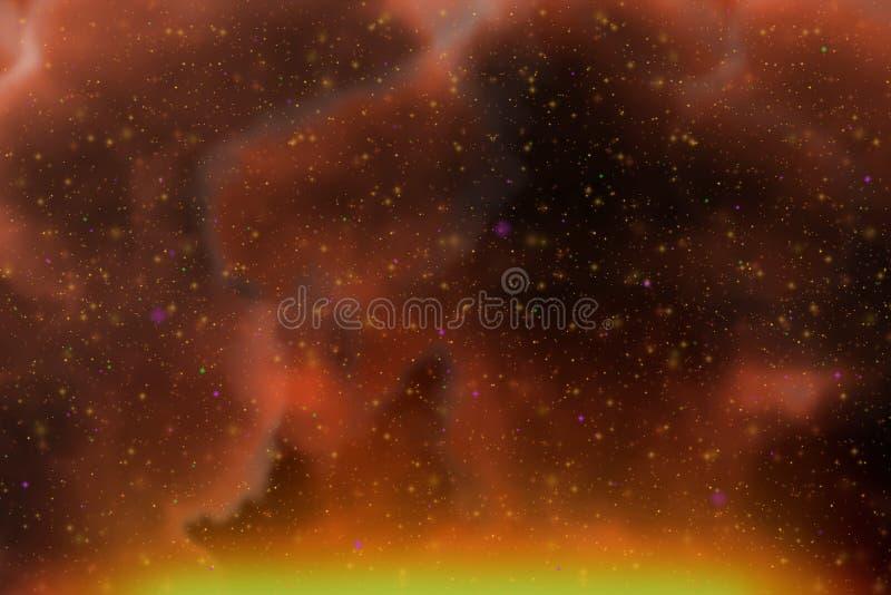 L'espace rouge d'imagination dynamique abstraite et fond coloré d'étoiles avec des étincelles et des nuages illustration de vecteur