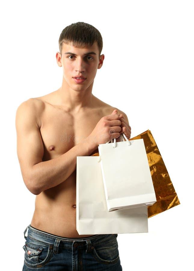 l'espace sexy d'achats d'homme de copie de sacs photos libres de droits