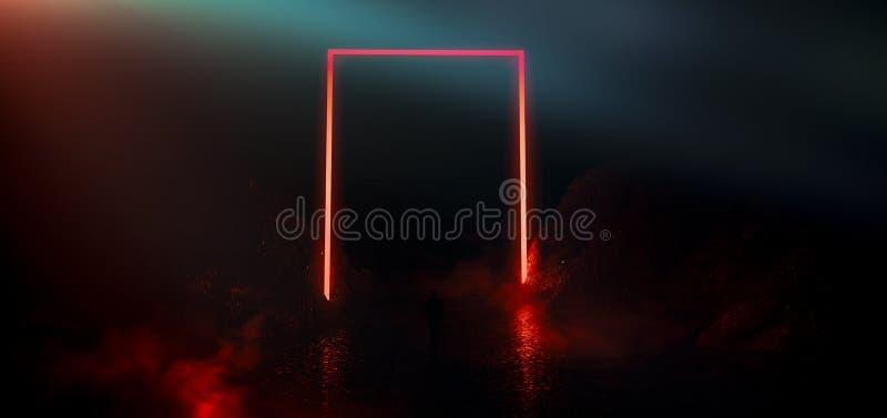 L'espace sombre et vide, étape vide, pièce avec l'élément léger, lampe au néon, lumière abstraite illustration stock
