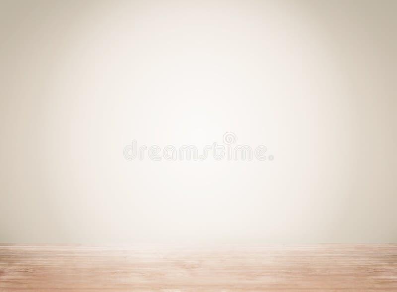 L'espace vide avec le mur et l'étage en bois photographie stock