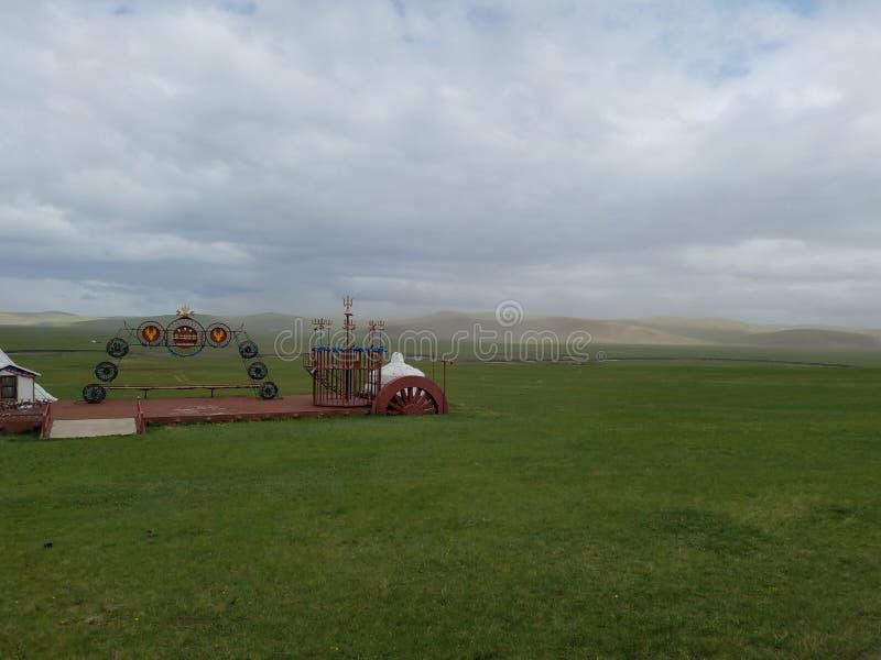 L'espace vital des nomades prairie et Ger image stock