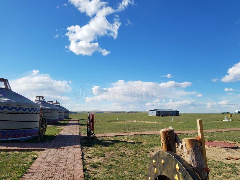 L'espace vital des nomades prairie et Ger image libre de droits