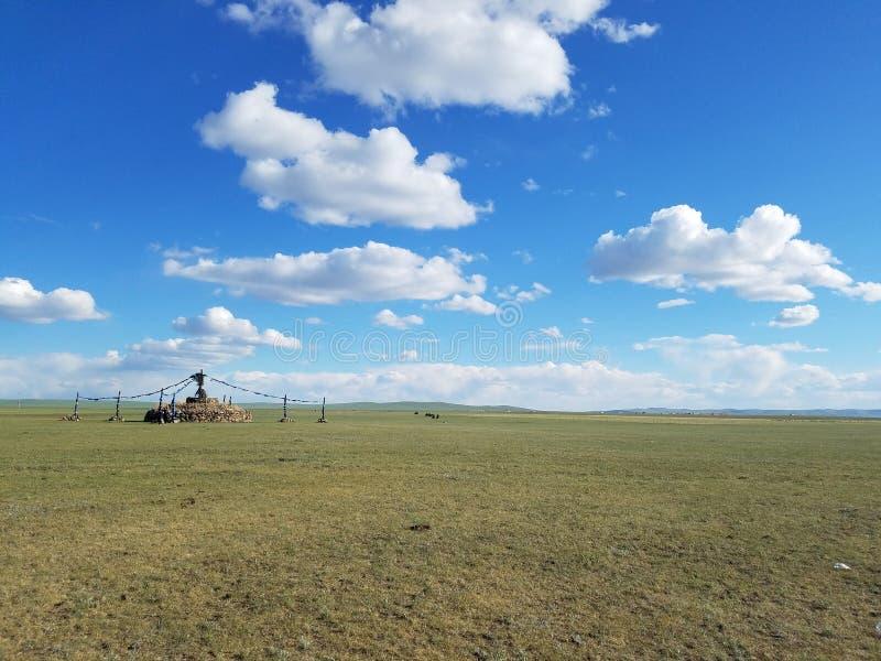 L'espace vital des nomades prairie et Ger photographie stock libre de droits