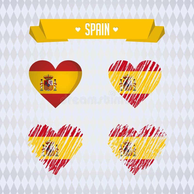 L'Espagne avec amour Le coeur brisé de vecteur de conception avec le drapeau à l'intérieur illustration stock