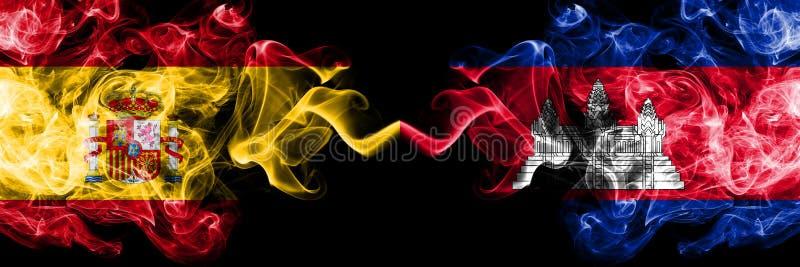 L'Espagne contre le Cambodge, drapeaux mystiques fumeux cambodgiens placés côte à côte Épais coloré soyeux fume le drapeau d'espa illustration stock