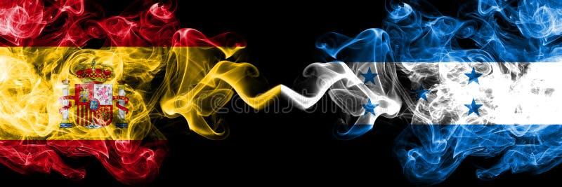 L'Espagne contre le Honduras, drapeaux mystiques fumeux honduriens placés côte à côte Épais coloré soyeux fume le drapeau d'espag illustration de vecteur