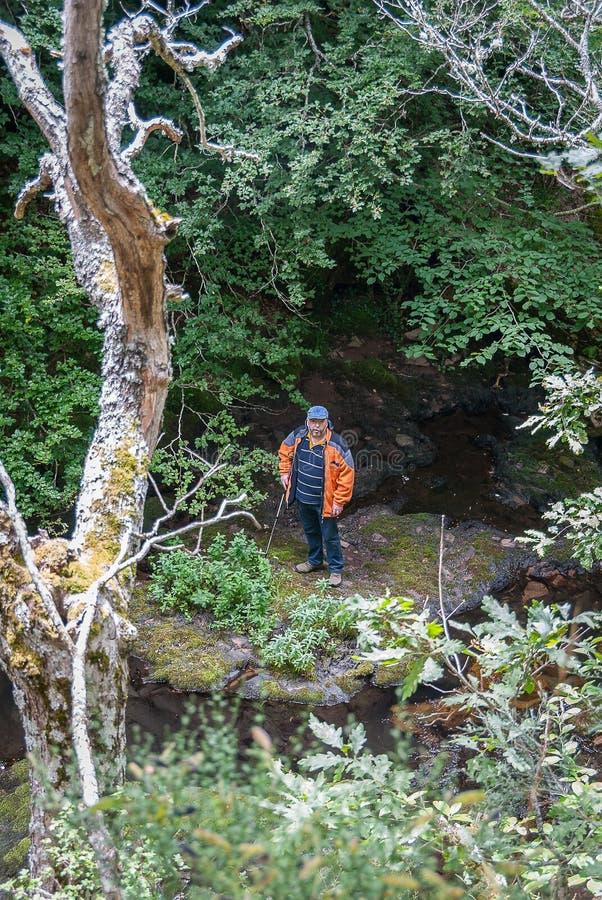 l'espagne Homme en parc naturel de Fuentes Carrionas Palencia images stock
