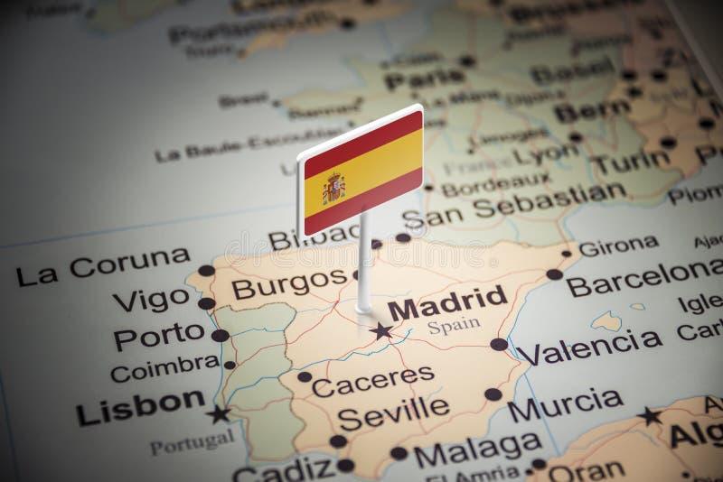 L'Espagne a identifié par un drapeau sur la carte images libres de droits