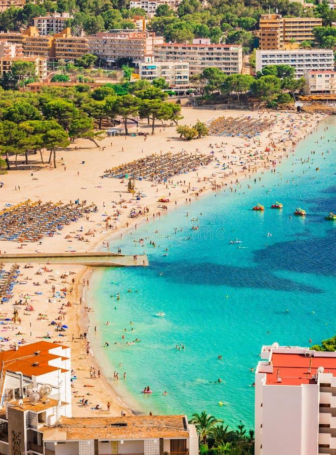 L'Espagne Majorque, vue de plage de Santa Ponsa photographie stock