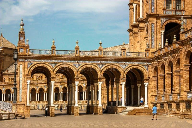 l'Espagne, Séville La place ou la Plaza de España de l'Espagne est un exemple de point de repère du style de renaissance de la R photographie stock